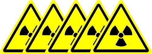 ISO-Sicherheits-Zeichen - Internationale Radioaktive Gefahrensymbol - Selbstklebende Aufkleber 50mm x 50mm (Packung mit 5 Aufkleber) (Gefahrensymbole)