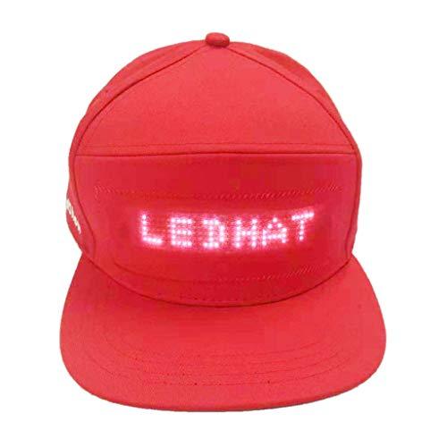 HCFKJ Mode Cap LED Cool Hat mit Bildschirm Licht wasserdichtes Smartphone gesteuert (RD)