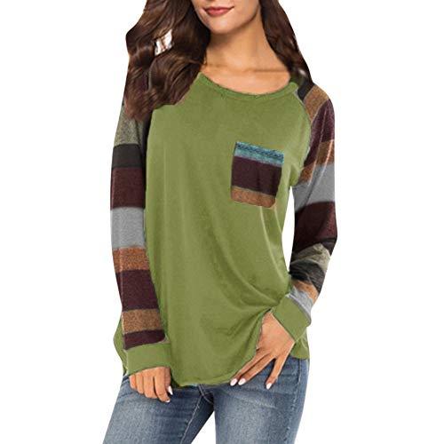 Bluelucon Damen Basic V-Ausschnitt Langarmshirt Falten Casual mit Knopf T-Shirt