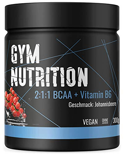 BCAA PULVER + VITAMIN B6 Höchste Dosierung der Amino-Säuren Leucin, Isoleucin und Valin im Verhältnis 2:1:1 Vegan und hochdosiert JOHANNISBEERE -