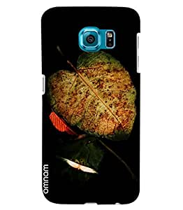 Omnam Green Leaf Effect On Black Background Printed Designer Back Cover Case For Samsung Galaxy S6 EDGE