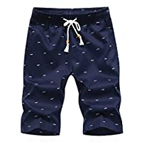 Men's Cotton Casual Classic Fit Drawstring Mid Waist Letter Print Short Pant Summer Beach Shorts Half Trousers