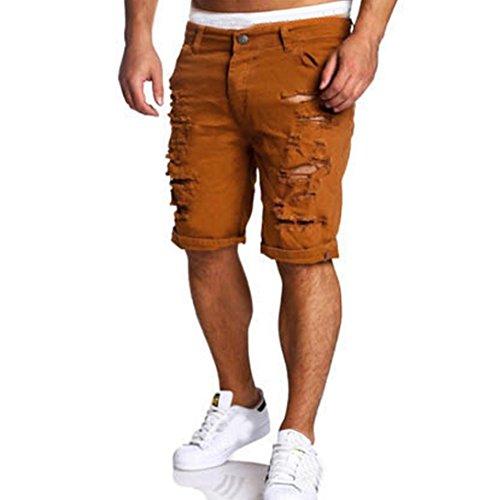 GiGiSun Männer Jeans Zerstörte Knie-Länge Hole Ripped Pants (L, Braun) (Kurze Stiefel Ultimative)