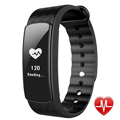 Lintelek Smart Uhr mit Herzfrequenz Monitor, Fitness Activity Tracker Band Bluetooth 4.0Wasserdicht mit Gesundheit Sleep Monitor Schrittzähler Kalorien/Schritt Zähler für Android iOS, Schwarz