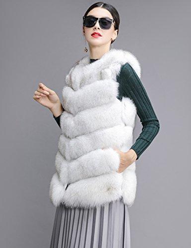 Cooshional Damen Weste Winter Kunstpelz Faux Fellweste Pelzjacke Ärmellos Mantel Weiß