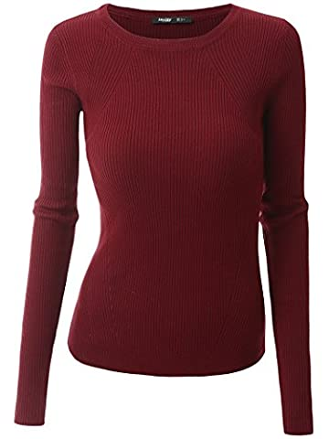 Mooncolour Women's Basic Crew Neck Long Sleeve Soft Sweater Knit Tops