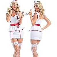GHJFGJNF Dessous Maid Cosplay Sexy Uniform Krankenschwester Rollenspiel Anzug Versuchung Krankenschwester Uniform Krankenschwester Kostüm Nachtwäsche Erotische Dessous Set_ (Weiß) _M