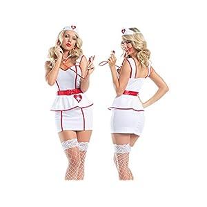 Sexy Kleidung Dessous Maid Cosplay Sexy Uniform Krankenschwester Rollenspiel Anzug Versuchung Krankenschwester Uniform Krankenschwester Kostüm Nachtwäsche Erotische Dessous Set_ (Weiß) _M Cosplay Kost