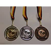 Tennis Pokal Kids Medaillen 3er Set m Pokale & Preise Deutschland-Bändern Turnier Emblem Herren