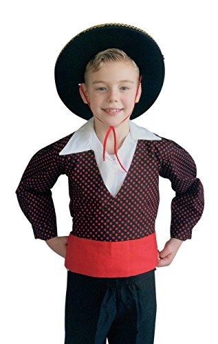 Kostüm Flamenco Junge - La Senorita Spanische Flamenco Kostüm Chico Jungen rot schwarz (Größe 12 - 140-146, schwarz)