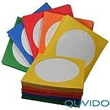 Quvido - Fundas de papel con ventana transparente para CD y DVD (paquete de 100 unidades)