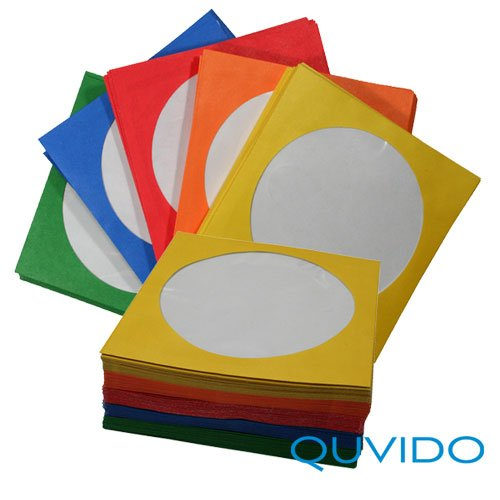 100 QUVIDO CD/DVD/Blu-ray Papierhüllen Color Mix
