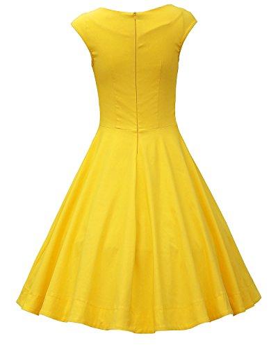 MUXXN Rétro robe de soirée de cocktail de années 1950 de femme du style d'Audrey Hepburn Vintage Yellow