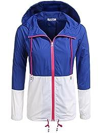 e051a299ae6476 Modfine Damen Jacke Sommer Windbreaker Übergangsjacke Wasserabweisend Regenmantel  Regenjacke mit Kapuze in 14 Farben