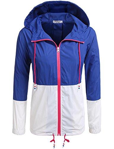 Damen Jacke Windbreaker Übergangsjacke Wasserabweisend Regenmantel mit Kapuze , Farbe - Dunkelblau , Gr. M