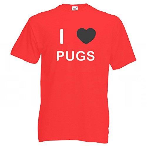 I Love Pugs - T-Shirt Rot