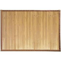 Alfombra antideslizante multiusos de bambú, marrón claro