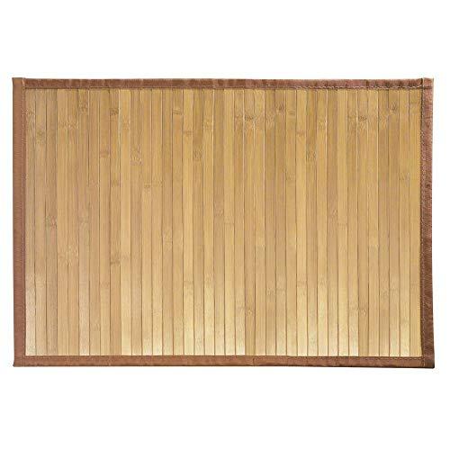 iDesign Fußmatte rutschfest, kleiner Duschvorleger aus Bambus, wasserabweisender Läufer für Badezimmer und Toilette, hellbraun - Läufer Teppich Holz