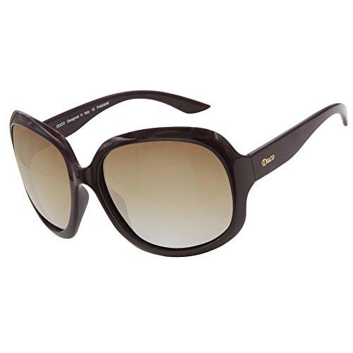 Duco Modisch Polarisierte Sonnenbrille für Damen Vintage klassischer Stil Sonnenbrillen 3113 Weinrot Rahmen Braun Linse