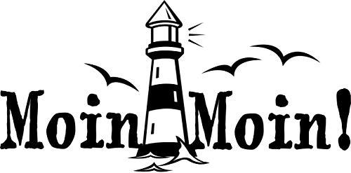 Autoaufkleber: 'Moin Moin!' - Gruß - Spruch - Küste - Meer - Hamburg - Nordsee - Norden - Norddeutschland // KFZ-Aufkleber - Wetterfest // verschiedene Farben und Größen (Schwarz - 450 mm x 230 mm) - Küsten-leuchttürme