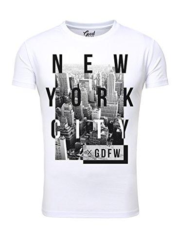 Goodflow Herren T-Shirt New York City Printshirt Retro Look Weiß