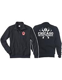 Veste sweat bleu marine, Chicago Fire Dept. avec haches–PARAMEDIC