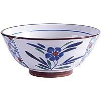 Happiness tableware Cuenco de cerámica Pintado a Mano de Estilo japonés Cuenco de Sopa de Ramen Retro Creativo Cuenco de Ensalada de Gran Capacidad Vajilla para el hogar