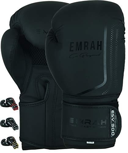 EMRAH ESV-300 Boxhandschuhe Muay Thai Training DX Leder Leder Sparring Boxsack Handschuhe Kickboxen Kampf (Mattschwarz, 14 oz) -