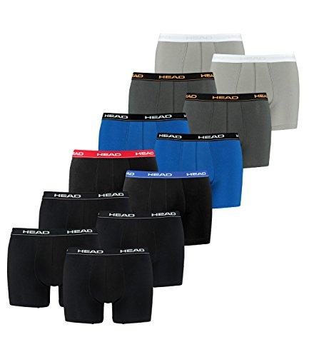 HEAD Herren Boxershorts 841001001 12er Pack, Wäschegröße:L;Artikel:2x2er Black / 1x2er Red/Blue/Black / 1x2er blue/black / 1x2er da