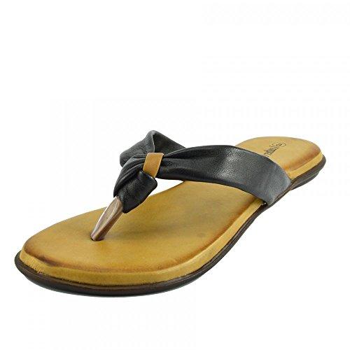 Kick Footwear - Damen Sandale mit Echt Leder Strand Flip Flops Sandalen Leder Schuhe Black F0930