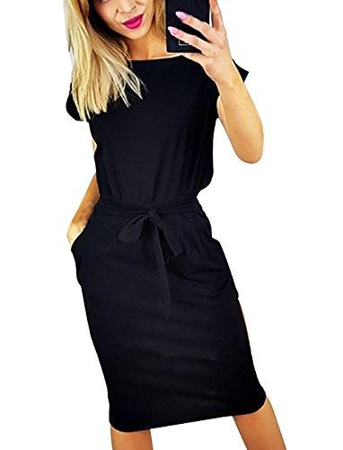 Yieune Sommerkleid Damen Lose Abendkleid Einfarbig Knie Lang Kleider Elegant Strandkleid Minikleid (Schwarz L)
