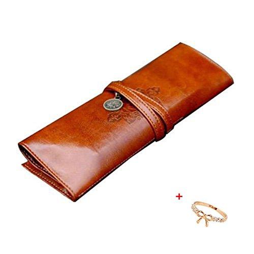 Malloom® stile vintage astuccio, sacchetto della matita, portapenne, caso di trucco, borsa- cosmetica cuoio dell'unità di elaborazio