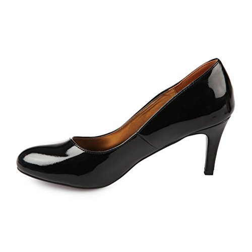 La Modeuse - Escarpins femmes type classique en simili cuir vernis Noir