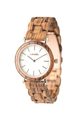 LAiMER Holzuhr LEONA - Damen Armbanduhr aus 100% Zebranoholz und Zifferblatt aus weißem Marmor für einzigartige Kombination aus harter Natur und Lifestyle - natürlich, edel, Südtirol