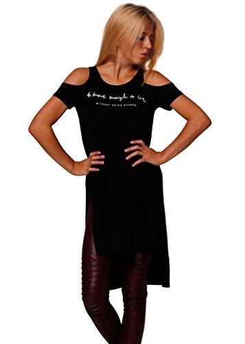 Longshirt in Schwarz für Damen | Einheitsgröße | Shirt mit Cut-Out an den Schultern | T-Shirt aus Jersey mit weitem Rundhalsausschnitt | Basic-Oberteil mit seitlichen Schlitzen | - T-shirt-kleid Schlitzen Mit