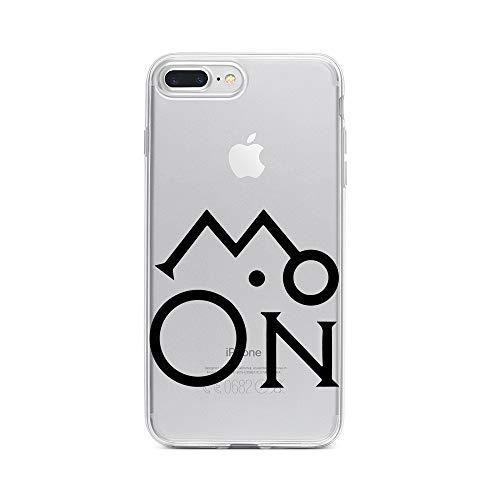licaso Apple iPhone 8 Plus Handyhülle Smartphone Apple Case aus TPU mit Moon Schriftzug Print Motiv Slim Design Transparent Cover Schutz Hülle Protector Soft Aufdruck Lustig Funny Druck -