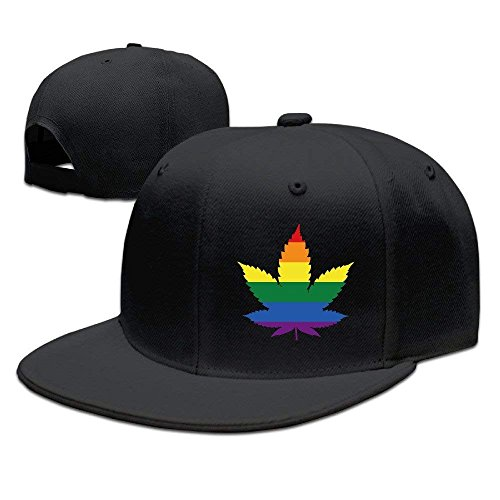 Unisex LGBT Gay Marihuana Weed Leaf Snapback Flat Cap Peak Fit Hat Black