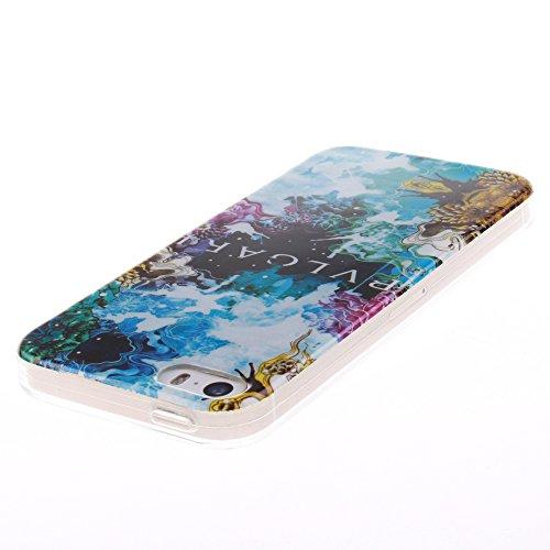 Pour Apple iPhone 5/5S Cas, MCHSHOP Ultra-mince TPU Silicone Cover souple Phone Housse Coque de protection pour iPhone 5/5S - 1 gratuit Touch Pen (Abricotier de fleur) belle bleue