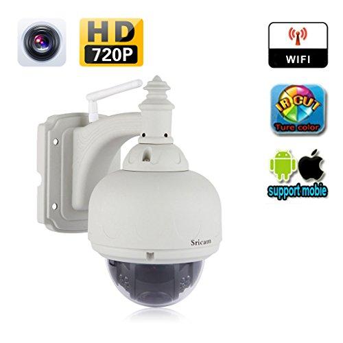 Sricam SP015Dome IP-Kamera, 720Pixel, kabellos, Auflösung 1,0MP, IP66-wasserdicht, WLAN-Überwachungskamera, IR-Filter, Nachtsicht, CCTV-Sicherheitssystem, drehbar, PT-Bewegungserkennung, Alarm per E-Mail, Smartphone-Fernüberwachung, weiß