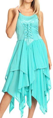 Sakkas 0131 Korsett Stil Mieder Jaquard Leichte Taschentuch Hem Kleid - Aqua - One Size Plus -