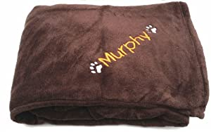 Chocolate Microfibre Snuggle Soft Personalised Dog Blanket. When Checking Out, Please Tick The Gift Message Box To Enter Your Personalisation Details from Spoilt Rotten Pets