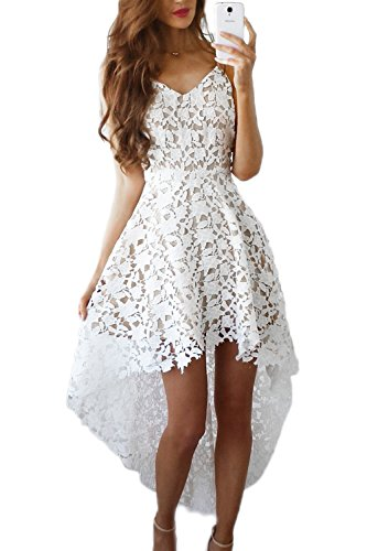 Élégante dentelle Hollow femmes Out haut bas Swing Party Dress white