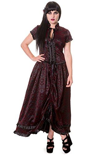 Banned Black Gothic Ivy Pattern Long Alternative Dress Black