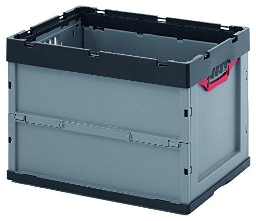 Auer Stabile Klappbox, Proi Faltbox 87 Liter 60 x 40 x 42, Kunststoffkiste, Kofferraumbox verstärkte Bodenausführung, stapelbar