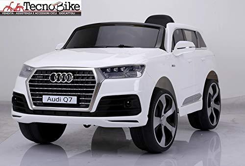 Tecnobike Shop Auto Elettrica per Bambini Audi Q7 12 V con Telecomando 2,4 GHz, Sedile in Pelle Audi e Impianto Audio Digitale, MP3 (Bianco)