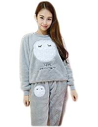 Auspicious beginning Mujeres sueltan el pijama de franela de dormir Set precioso camisón Homewear
