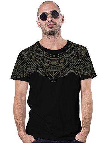 Herren T-Shirt mit Yanshu Geometrischem Eulen Aufdruck - handgefertigt durch Siebdruck auf 100% Baumwolle - Street Habit Schwarz