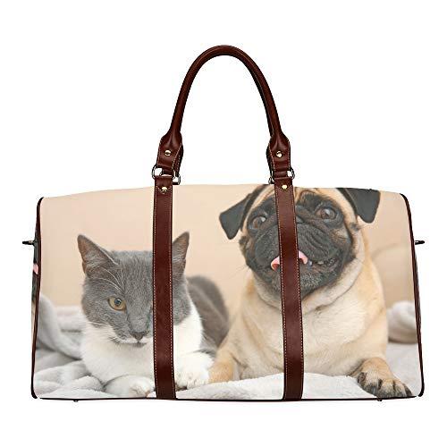 Reise-Seesack Mops und süße Katze sitzen zusammen wasserdichte Weekender-Tasche Reisetasche Frauen Damen-Einkaufstasche Mit Mikrofaser-Leder-Gepäcktasche -