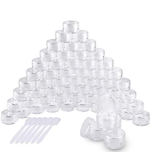 60 Stück Döschen, Cremedose Leer Transparent Tiegel Mini Cremedöschen mit Schraubverschluss für Nailart Lippenbalsam Creme, 5g 5ml Transparent