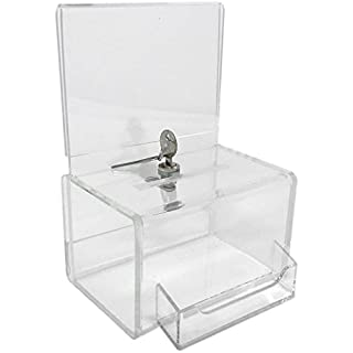 Dazzling Displays Clear Acrylic Mini Donation Box with Attached Business Card Holder, and Cam Lock and (2) Keys by Dazzling Displays